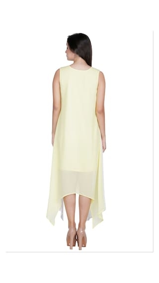 For Crepe Poly Dress Long Women Yellow Mayra 8XAqBB