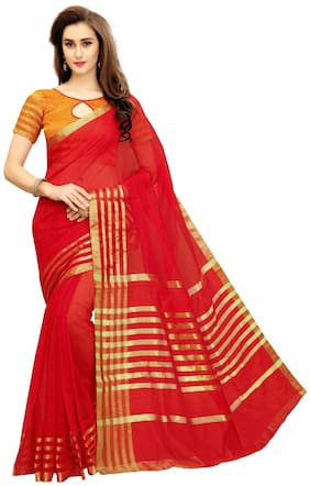 Dressy Red Manipuri Polyester Blend Woven Saree