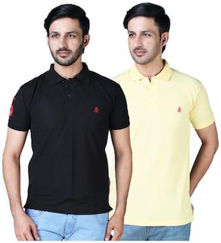 DRRAGON Men Multi Regular fit Cotton Polo Collar T-Shirt -Pack of 2