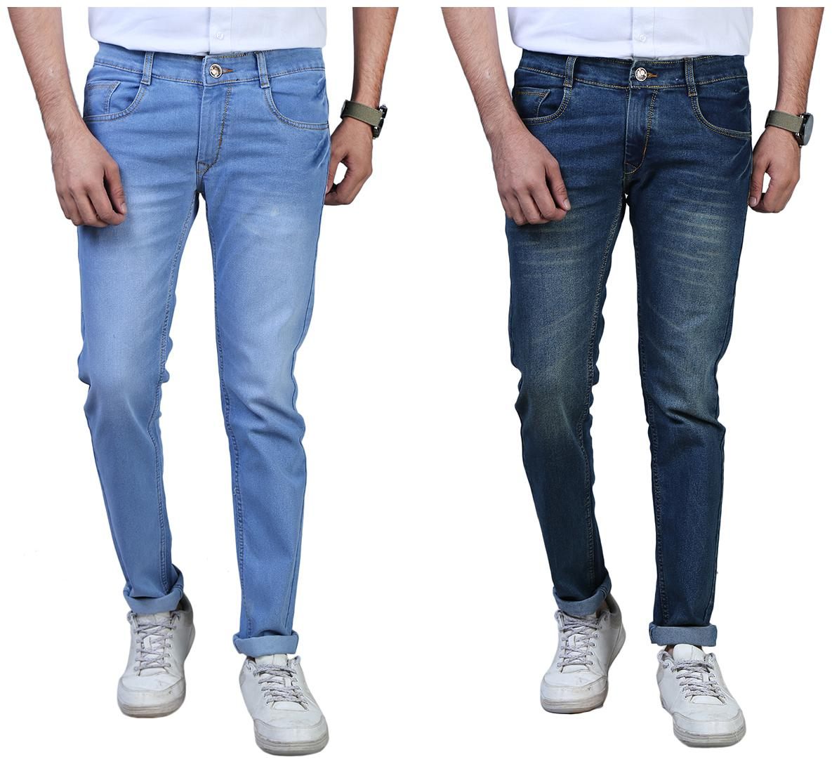 Men Slim Fit Mid Rise Jeans Pack Of 2
