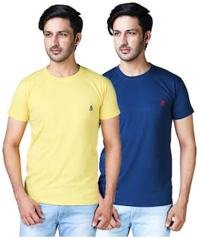 DRRAGON Men Slim Fit Round Neck Solid T-Shirt Combo  - Yellow;Blue