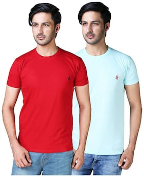 DRRAGON Men Slim Fit Round Neck Solid T-Shirt Combo  - Red;Turquoise
