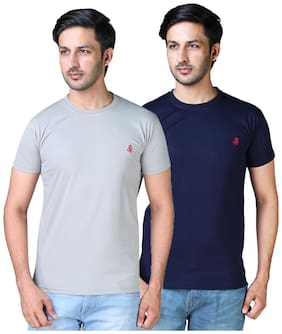 Shopjinie Men Grey & Navy blue Slim fit Cotton Blend Round neck T-Shirt - Pack Of 2
