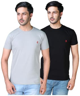 Shopjinie Men Grey & Black Slim fit Cotton Blend Round neck T-Shirt - Pack Of 2
