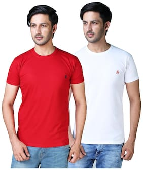 DRRAGON Men Slim Fit Round Neck Solid T-Shirt Combo  - White;Red