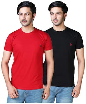 DRRAGON Men Slim Fit Round Neck Solid T-Shirt Combo  - Red;Black