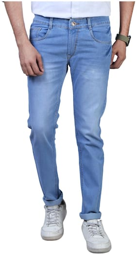 DRRAGON Men's Regular Fit Denim Jeans (Light Blue)