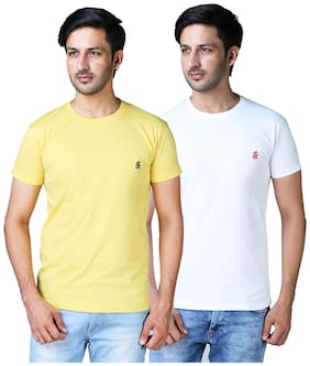 Shopjinie Men White & Yellow Slim fit Cotton Blend Round neck T-Shirt - Pack Of 2