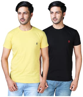 DRRAGON Men Slim Fit Round Neck Solid T-Shirt Combo  - Yellow;Black