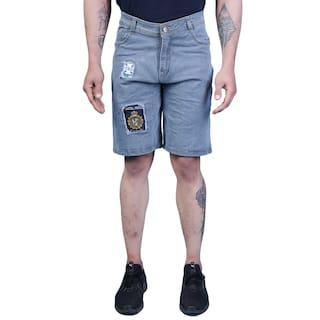 DRRAGON Men Blue Regular Fit Denim Shorts