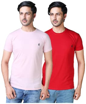 DRRAGON Men Slim Fit Round Neck Solid T-Shirt Combo  - Pink;Red