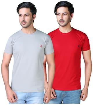 Shopjinie Men Grey & Red Slim fit Cotton Blend Round neck T-Shirt - Pack Of 2