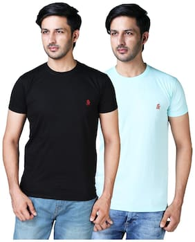 Shopjinie Men Black & Turquoise Slim fit Cotton Blend Round neck T-Shirt - Pack Of 2