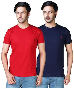 DRRAGON Men Slim Fit Round Neck Solid T-Shirt Combo  - Red;Navy Blue