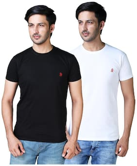 DRRAGON Men Slim Fit Round Neck Solid T-Shirt Combo  - White;Black