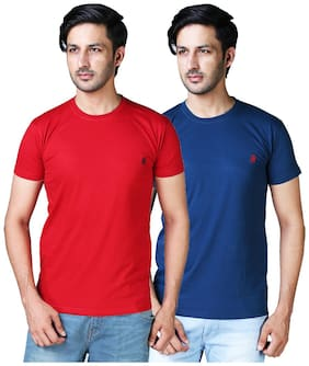 DRRAGON Men Slim Fit Round Neck Solid T-Shirt Combo  - Red;Blue