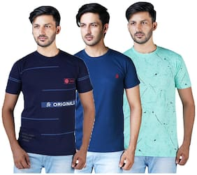 Shopjinie Men Multi Slim fit Cotton Round neck T-Shirt - Pack Of 3