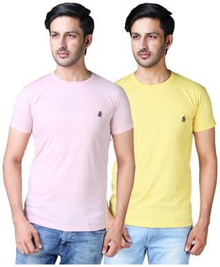 Shopjinie Men Slim fit Round neck Solid T-Shirt - Pink & Yellow