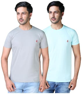 Shopjinie Men Grey & Turquoise Slim fit Cotton Blend Round neck T-Shirt - Pack Of 2