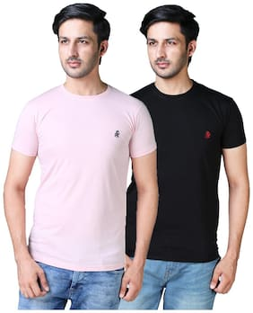 Shopjinie Men Pink & Black Slim fit Cotton Blend Round neck T-Shirt - Pack Of 2
