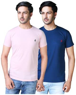 DRRAGON Men Pink & Blue Slim fit Cotton Blend Round Neck T-Shirt -Pack of 2