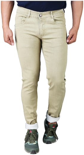 DRRAGON Men Mid rise Slim fit Jeans - Beige