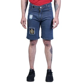 Men Solid Denim Shorts Pack Of 1