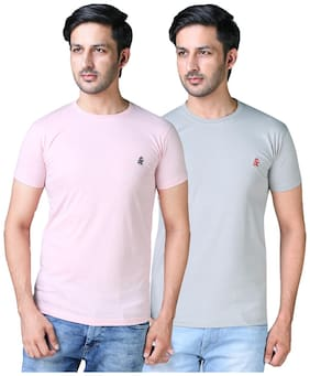 Men Round Neck Solid T-Shirt Pack Of 2