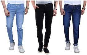Men Regular Fit Mid Rise Jeans Pack Of 3