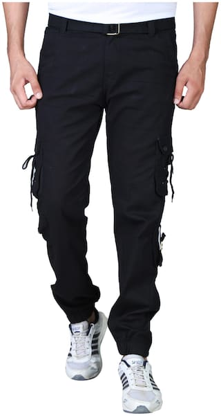 Drragon Men Black Cargos-With Belt