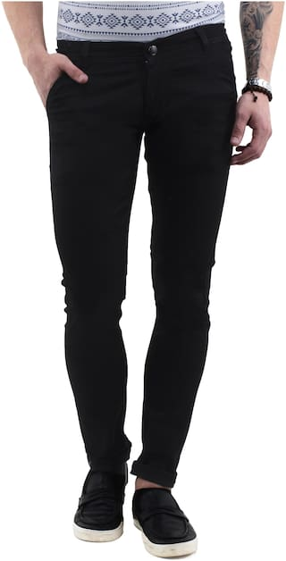 Drragon Men Slim Fit Mid Rise Stretchable Black Casual Trousers
