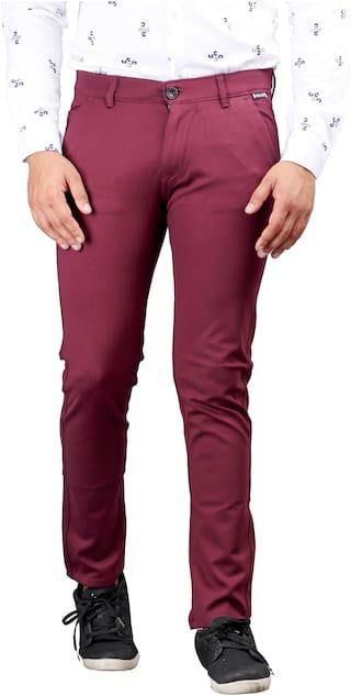 DRRAGON Men Maroon Solid Slim fit Chinos