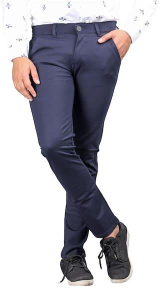 DRRAGON Men Navy blue Solid Slim fit Chinos