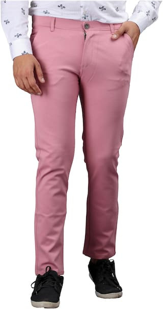 DRRAGON Polyester Fuschia Solid  Casual Trouser For Men