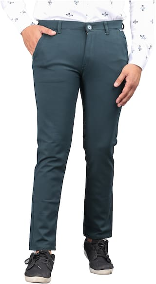 DRRAGON Polyester Dark Green Solid  Casual Trouser For Men