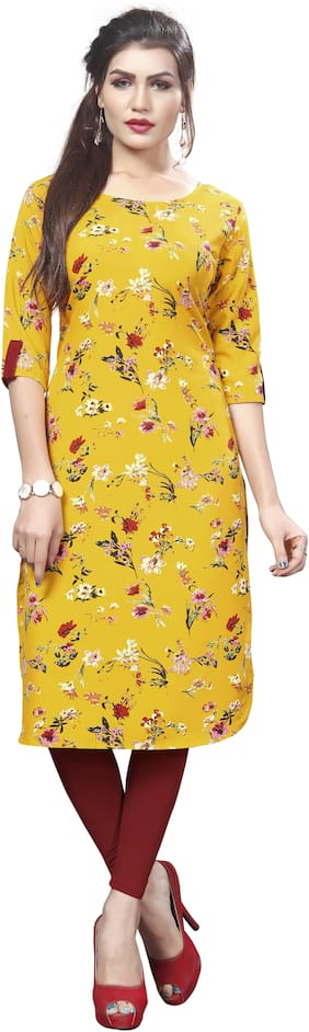 Dsk Studio Women Crepe Floral Straight Kurti - Yellow