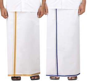 DSPassion4u Cotton Solid Regular dhoti Dhoti - White