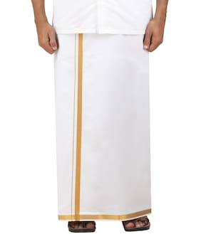 DSPassion4u Cotton Solid Regular dhoti Dhoti - White