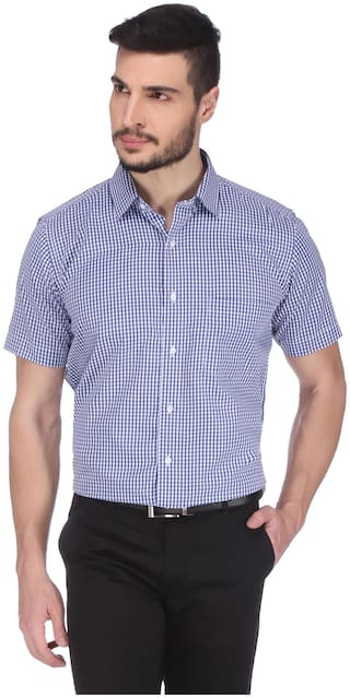DUDLIND Men Blue Checked Regular Fit Casual Shirt