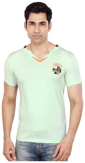 Dudlind V-Neck T-Shirt Half Sleeves - Light Green - Large [40 inches]
