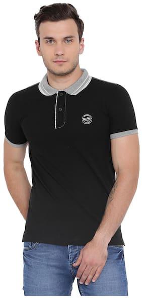 Duke Men Regular fit Polo neck Solid T-Shirt - Black