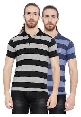 Duke Men Regular fit Polo neck Striped T-Shirt - Multi