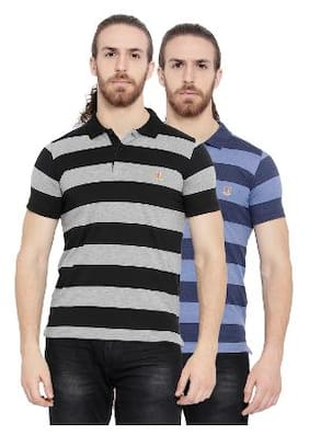 0326db04668 Duke Men Regular Fit Polo Neck Striped T-Shirt - Multi