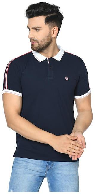 Duke Men Blue Regular fit Cotton Polo Collar T-Shirt
