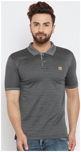 Duke Men Slim fit Polo neck Solid T-Shirt - Black
