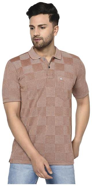 Duke Men Brown Regular fit Cotton Polo Collar T-Shirt