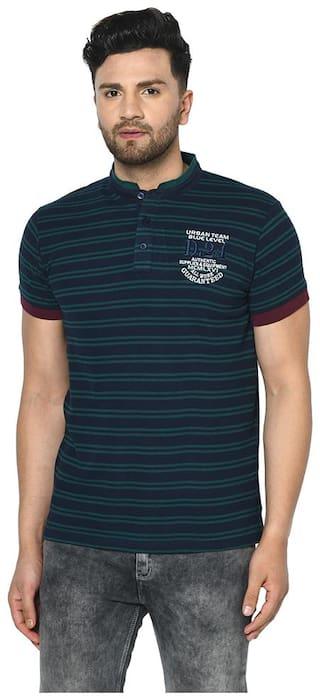 Duke Men Blue Regular fit Cotton Henley Neck T-Shirt