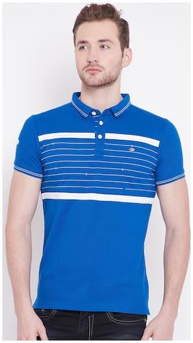 Duke Men Slim fit Polo neck Solid T-Shirt - Blue