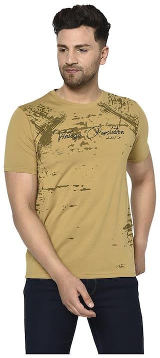 Duke Men Beige Regular fit Cotton Round Neck T-Shirt