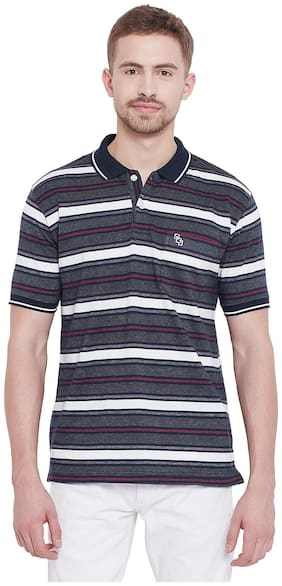 Duke Men Regular fit Polo neck Striped T-Shirt - Blue